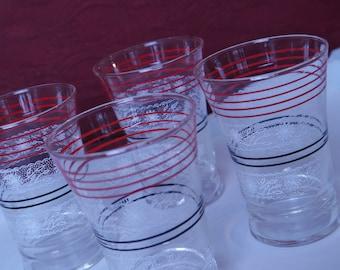 Four Vintage French Tumbler Glasses