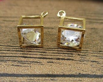 2 Cube Cage Pendants with Glass Diamond,Gold Tone-TS073