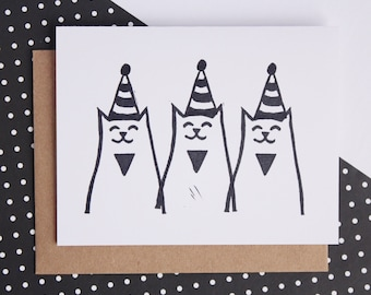 birthday card, cat card, party cats, greeting card, monochrome, birthday cats, cat lover, birthday party