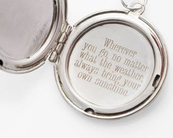 Always bring your own sunshine... Engraved Vintage Silver Locket 30mm FREE SHIPPING