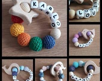 Personalised natural wood teething toy