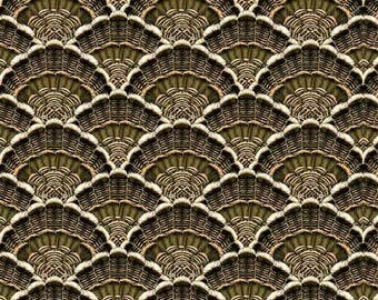 1649-24515-G BOUNTIFUL BLESSING PACKED Tail Feathers, Turkey Feathers, Green Brown Tail Feathers. Quilting Treasures, Quilting Fabric