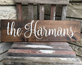 Family Name Sign, Rustic Wooden Sign, Established Sign, Wedding Gift, Home Decor, Wall Art, Customizable Sign, 20x5.5