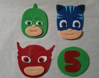 12 Pj Masks edible fondant toppers for cupcakes, cakes, cookies