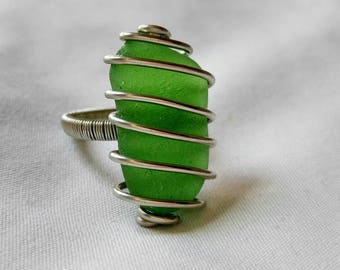 Lime Green Sea Glass Ring