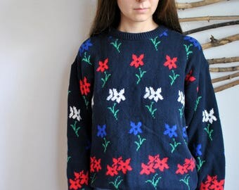 Vintage flowers sweater 1990s hipster shirt