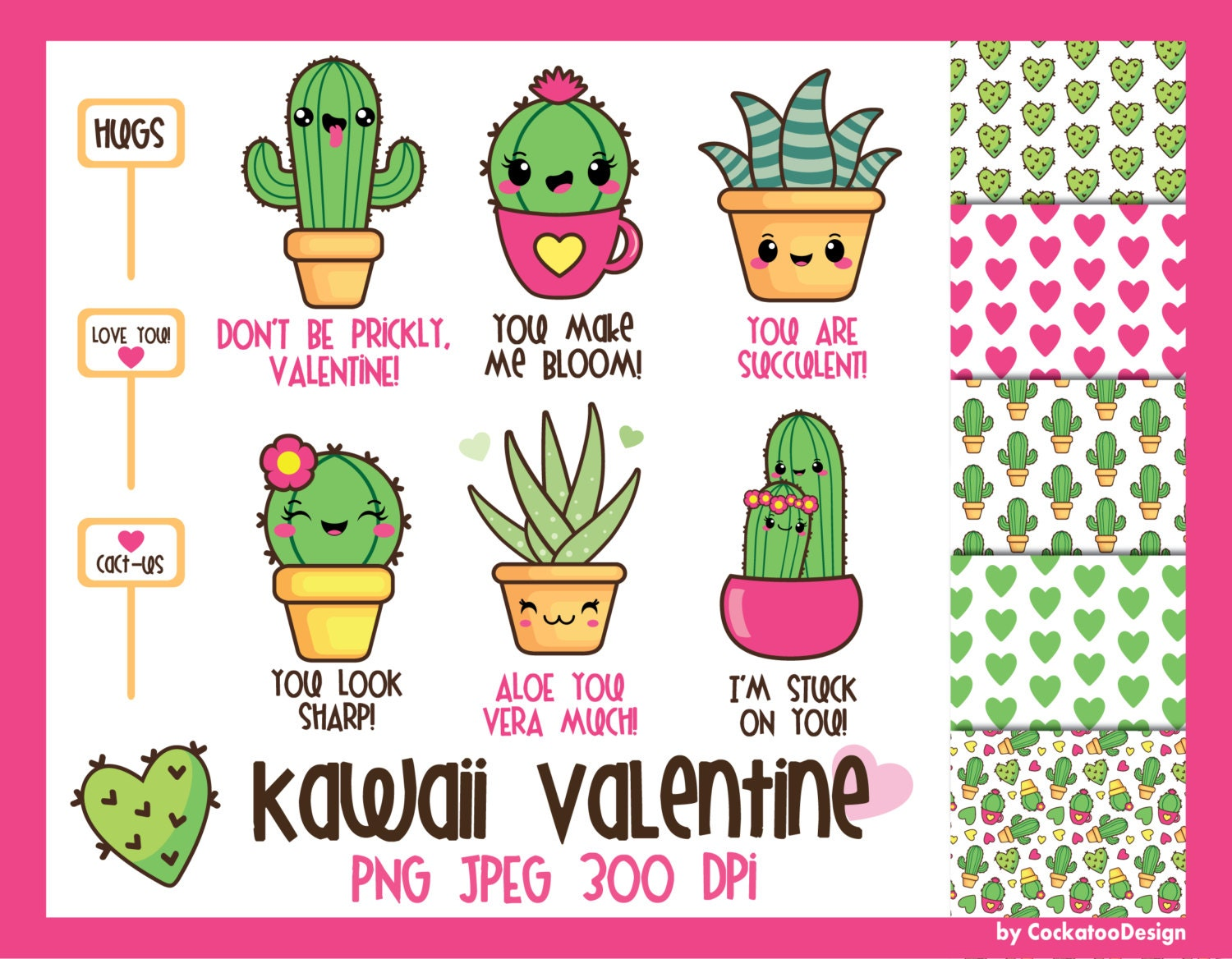 50% OFF Cactus clipart kawaii cactus clipart valentine