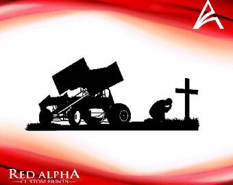 Sprint Car-Racer Kneeling at the Cross Decal