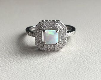 Sterling silver with square opal cubic zirconia ring vintage style