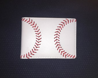 Youth White Leather Baseball Seam Wallet