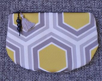 Kit / / pouch / make-up bag / / handmade / / gift / / yellow mustard