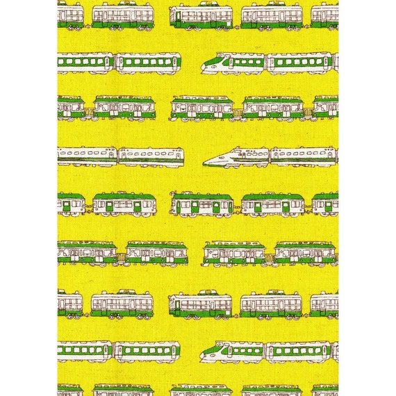 Train fabric trains canvas by the yard yellow for Train fabric by the yard