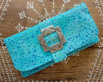 Genuine Leather Suede Clutch, Spotted Turquoise Leather handbag, Leather Lined, Vintage Buckle
