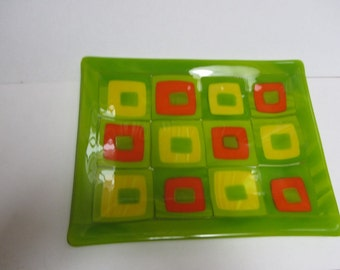 Floating squares platter with true yellow, orange, and chartreuse green.