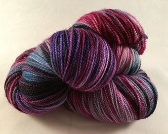 Hand Dyed Superwash Merino Sock Yarn in Colorway BERRIED ALIVE