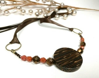 ORANGE DARJEELING - Palm Wood with Burnt Orange and Bronze Faceted Glass Beads Ribbon Tie Necklace