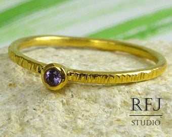 GF Natural Amethyst Textured Ring, 24K Yellow Gold Plated 2mm Round Cut Purple February Birthstone Ring, Stacking Amethyst Gold Ring Stacker