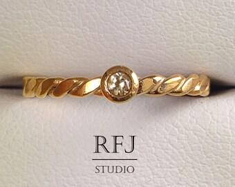 Rose Gold Flat Twist Lab Cognac Diamond Ring, 14K Rose Gold Plated 2mm Cognac Cubic Zirconia Flattened Rope Ring, Rose Golden Diamond Ring