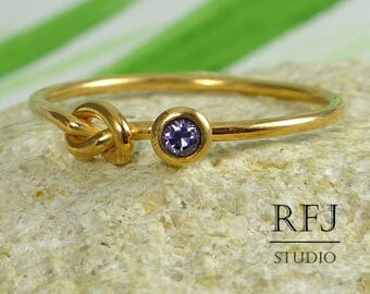 Rose Gold Plated Knot Lab Amethyst Ring, Purple CZ 2 mm Love Knot 14K Rose Gold  Silver Ring Amethyst Knotted Cubic Zirconia Gold Ring