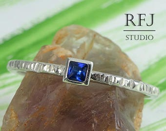 Square Synthetic Spinel Textured Silver Ring, Princess Cut 2x2 mm Blue Spinel Ring Square Setting Ring Stacked Blue Sterling Promise Ring