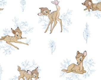 "New Disney Bambi Fabric: Camelot Disney Bambi and Butterfly Floral Toile Marina Blue 100% Cotton Fabric by the yard 36""x43"" (CA302)"