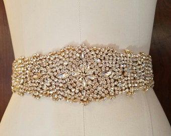 Wedding Belt, Bridal Sash Belt - LIGHT GOLD Crystal Wedding Sash Belt