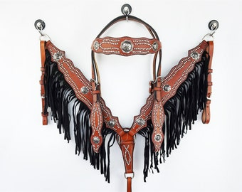 Handmade Classic Silver Stud Leather Headstall Western Horse Trail Barrel Racer Bridle Breast Collar Plate Black Fringe Show Tack Set