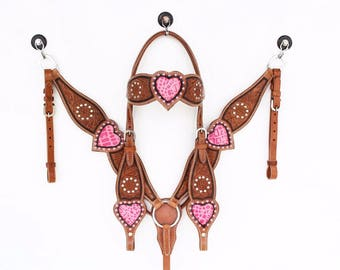The Pink Gator Heart Leather Headstall Western Horse Bridle Breast Collar Plate Show  Bling Tack Set