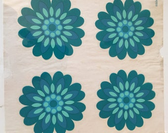 Sylglas aqua blue flowers retro pressure relief-decoration from the years 60 70 wall cupboard tile decoration from the sixties seventies