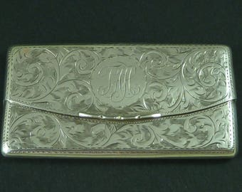 1913 Solid Silver Envelope Floral Visiting Card Case Hallmarked Sterling Mans Antique