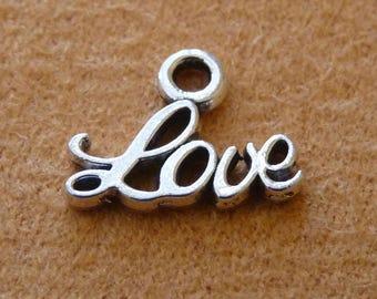 10x Love Charms, Bracelet Charms, Necklace Pendants Charms, Antique Silver Tone Love Charms