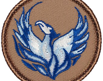Blue Phoenix Patch (310A) 2 Inch Diameter Embroidered Patch