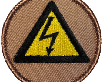 High Voltage Patch (462) 2 Inch Diameter Embroidered Patch