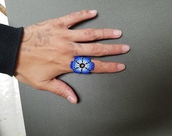 Seed bead ring, huichol ring