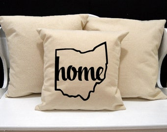 Ohio Home Pillow, Ohio Pillow, home pillow, pillow gift, Ohio gift, Envelope Pillow Cover, state pillow, OH pillow, 20x20 16x16 inch pillow