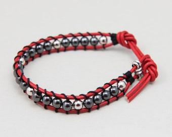 "Bracelet Wrap Leather Rock Ethnic ""Blacky"" *Man*"
