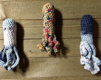 Crocheted Squid Catnip Toys!!! 100% Organic/Kosher Catnip. 5.99 each. 6 colors to choose from!!!!