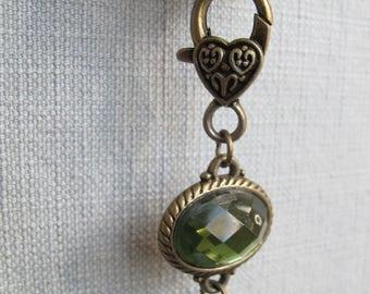 Locket and Stone Rear View Mirror Dangler | Wine Cork Dangler | Charm Dangler | Wine Lover's Gift | Recycled Cork Dangler | Purse Accessory