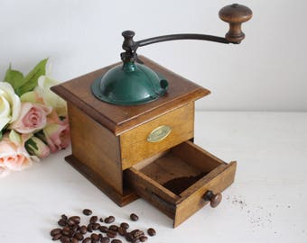 Vintage French Peugeot Freres Wooden Coffee Grinder - Green Lid