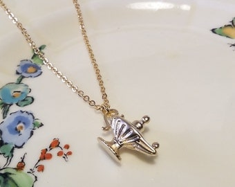 Beautiful gold plated Aladdin's lamp charm necklace