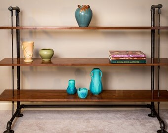 Walnut Shelves // Wooden Shelf // Modern Industrial // Rustic // Steel and Wood // Bookcase // Sofa Table // Console Table