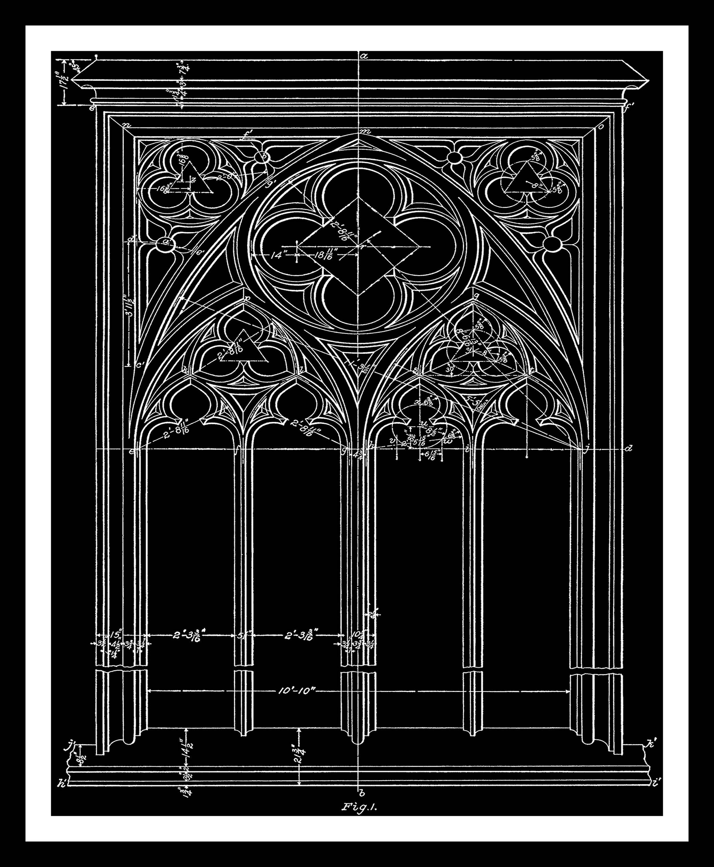 Architectural Wall Decor window, blueprint in black, architecture, gothic, architectural