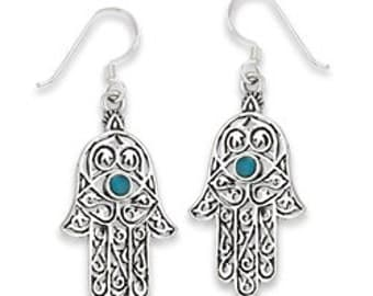 Sterling Silver Hamsa Earrings With Turquoise