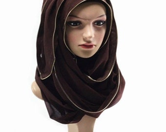 Chiffon Zipper Trim Hijab Scarf  - Color as pictured