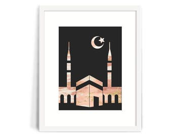 Marble Masjid and Crescent Moon in Pink with Pink and Gold Accents 8x10 Printable, Islamic art, dua art print