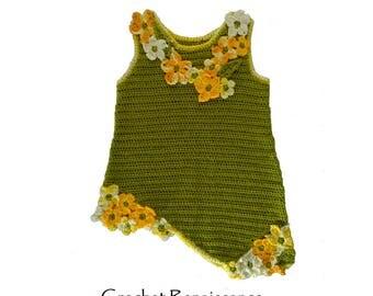 Girls Crochet 'Calypso' Dress - Handcrafted dress... top.  CROCHET PATTERN only.  Sizes 2-3, 4-5, 5-7 yrs.  Crochet for Spring, Summer, Fall