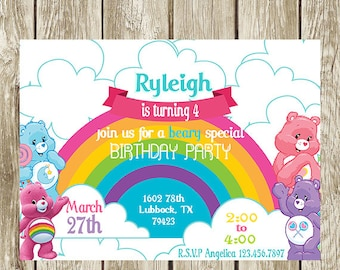 Care Bears Birthday Party Invitation Digital Printable Baby Shower