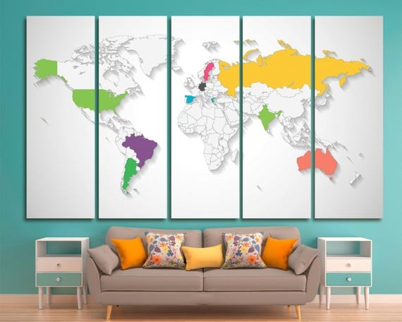 Extra large world travel map canvas push pin by TexelPrintArt – Framed World Travel Map