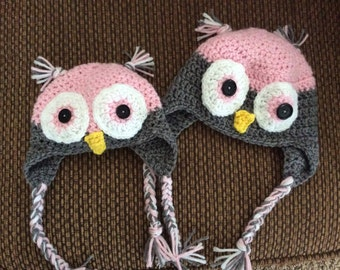 Owl Crochet Hat - Infant, Baby, Toddler, Adult