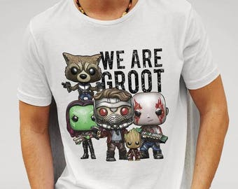 Guardians of the Galaxy 2 inspired ' We are Groot' White T-Shirt Mens Worldwide Shipping